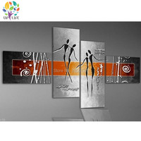 4 Piece abstract line figure Canvas Wall Art Painting Modern sliver gray Wall Picture Home Decorative For Living Room art set