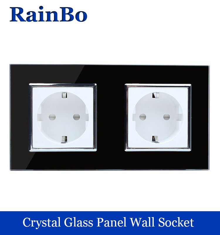 rainbo brand manufacturer NEW Wall EU Socket EU Standard Power Socket Black Crystal Glass Panel AC 110~250V 16A Wall  Socket железные дороги brio ж д переезд 26 элементов