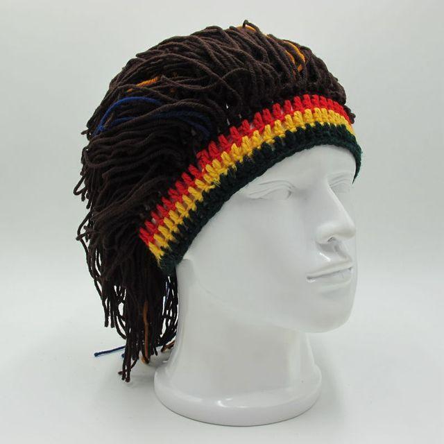 Rasta peluca hombres gorrita tejida del ganchillo del sombrero del ...