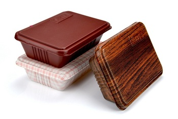 100pcs Creative Wood Grain Design Disposable Food Container Snack Packing Boxes Microwaveable PP Bento Box wen5558