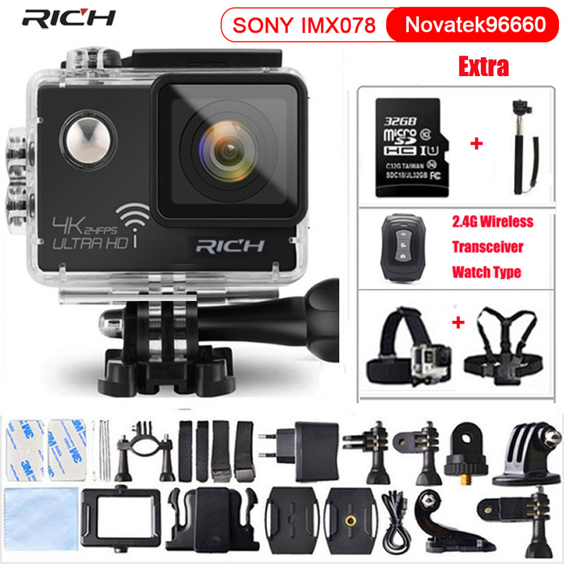цены Action Camera Remote Ultra 4K 24fps Wifi 16Mp Video Camera 170 Degree Lens Cam go waterproof pro Sport camera