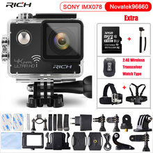 Action Camera Remote Ultra 4K 24fps Wifi 16Mp Video Camera 170 Degree Lens Cam go waterproof