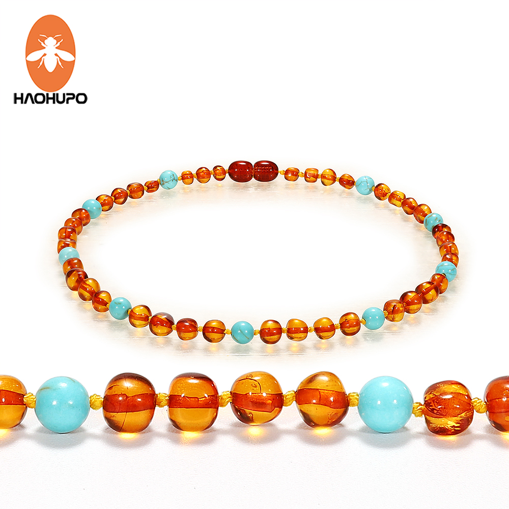 HAOHUPO Baby Mama New Amber Necklace Polished Ambar & Turquoise Baltic Amber Jewelry Baroque Beads Necklace For Etsy Supplier