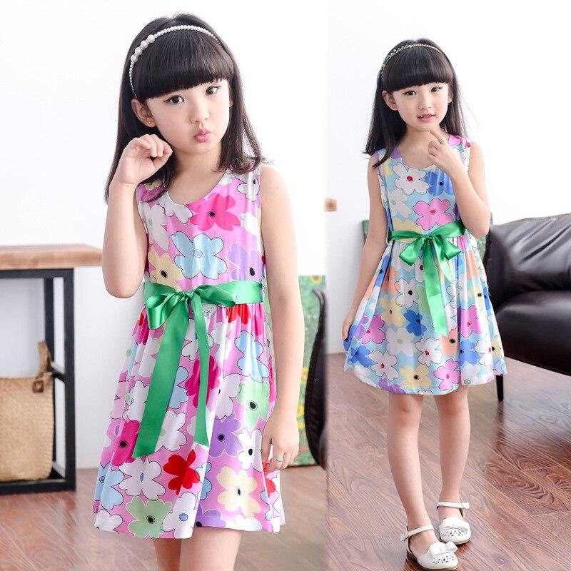 6b4598d09 2015 nuevas muchachas viste moda arco verde de algodón estampado de flores  de la parte A Line vestidos de bebé ocasionales niños Clothing Size 2 12 en  ...