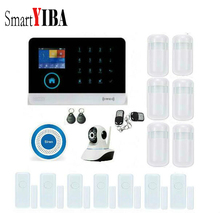 SmartYIBA RFID WIFI Android IOS APP Home Security Intruder Alarm Kits With Network Camera Blue Siren