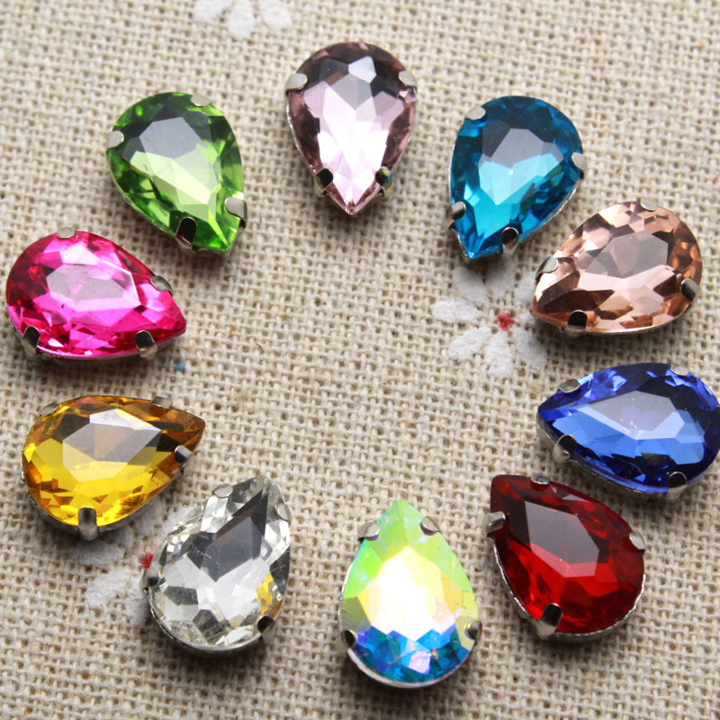 50pcs 10*14mm Crystal Colorful Waterdrop Sew On Rhinestone With Claw Setting Silver Back Fancy Stone With Metal Claw With Holes
