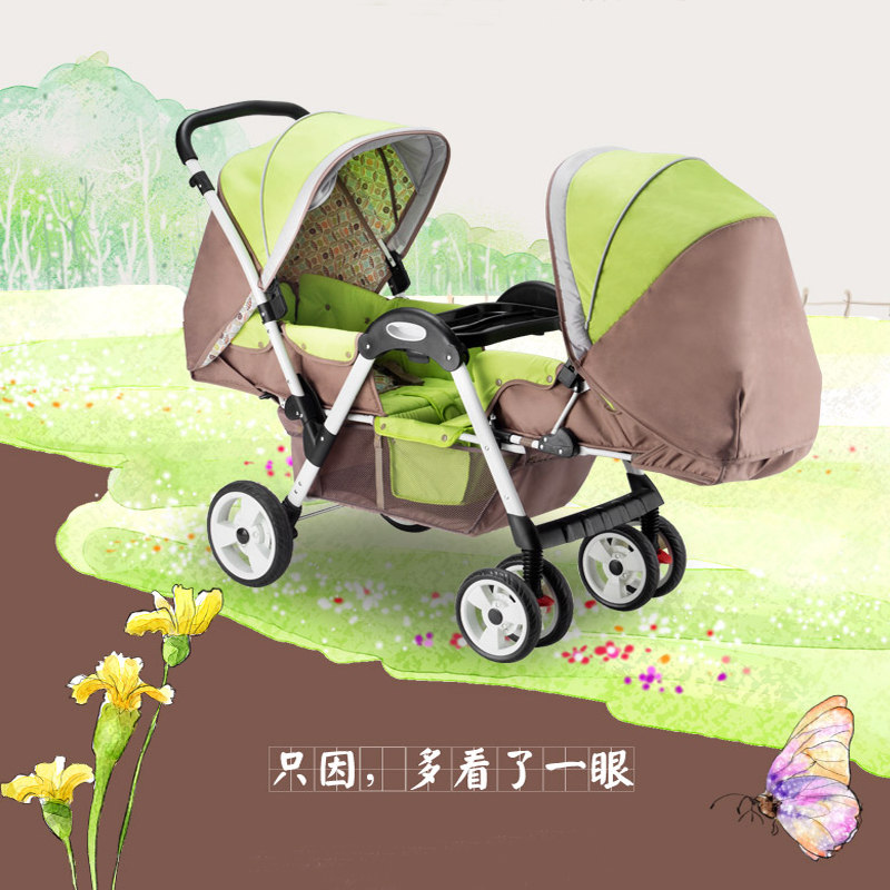 купить Lightweight Twins Stroller Double Baby Stroller to Sit Face to Face, Can Lie Can Sit, 2 Seats Pushchair   for 0-36 Months Kids дешево