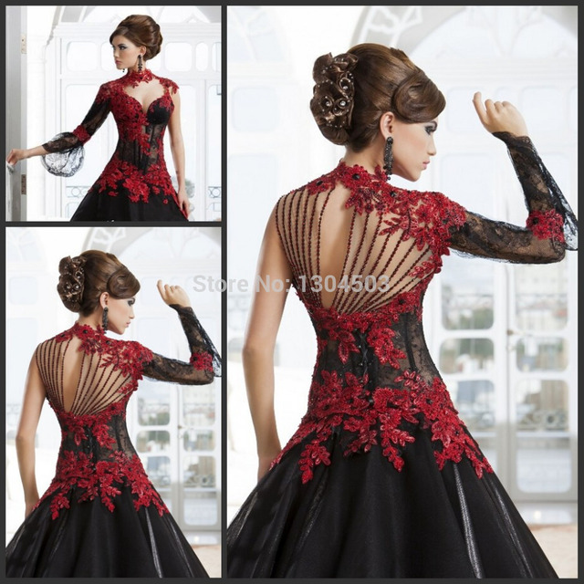 Romantic Black Gothic Ball Gown Wedding Dresses High Neck Long Sleeve Red  Lace Appliqued Sexy Bridal Gown Vestido 2014 d53a6924cbd7