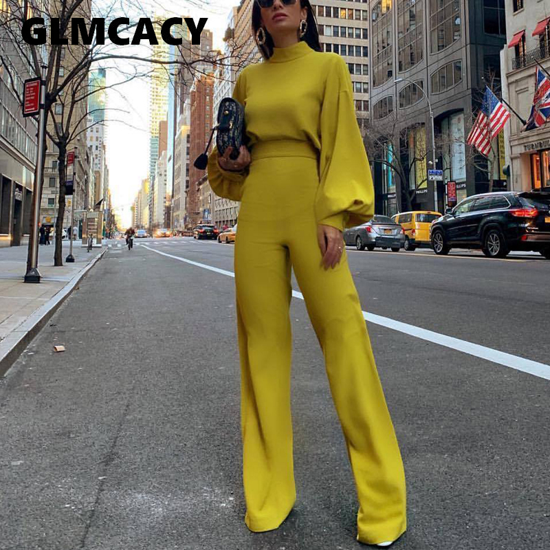 Women Spring Fashion Elegant Office Lady Workwear Casual Long Jumpsuits High Neck Lantern Sleeve Wide Leg Overalls