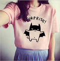 2016 Korean Style Women's Summer T-Shirt Lovely Cartoon Bat Printed Short Sleeve Cute Casual tshirt Young Girls Free Shipping