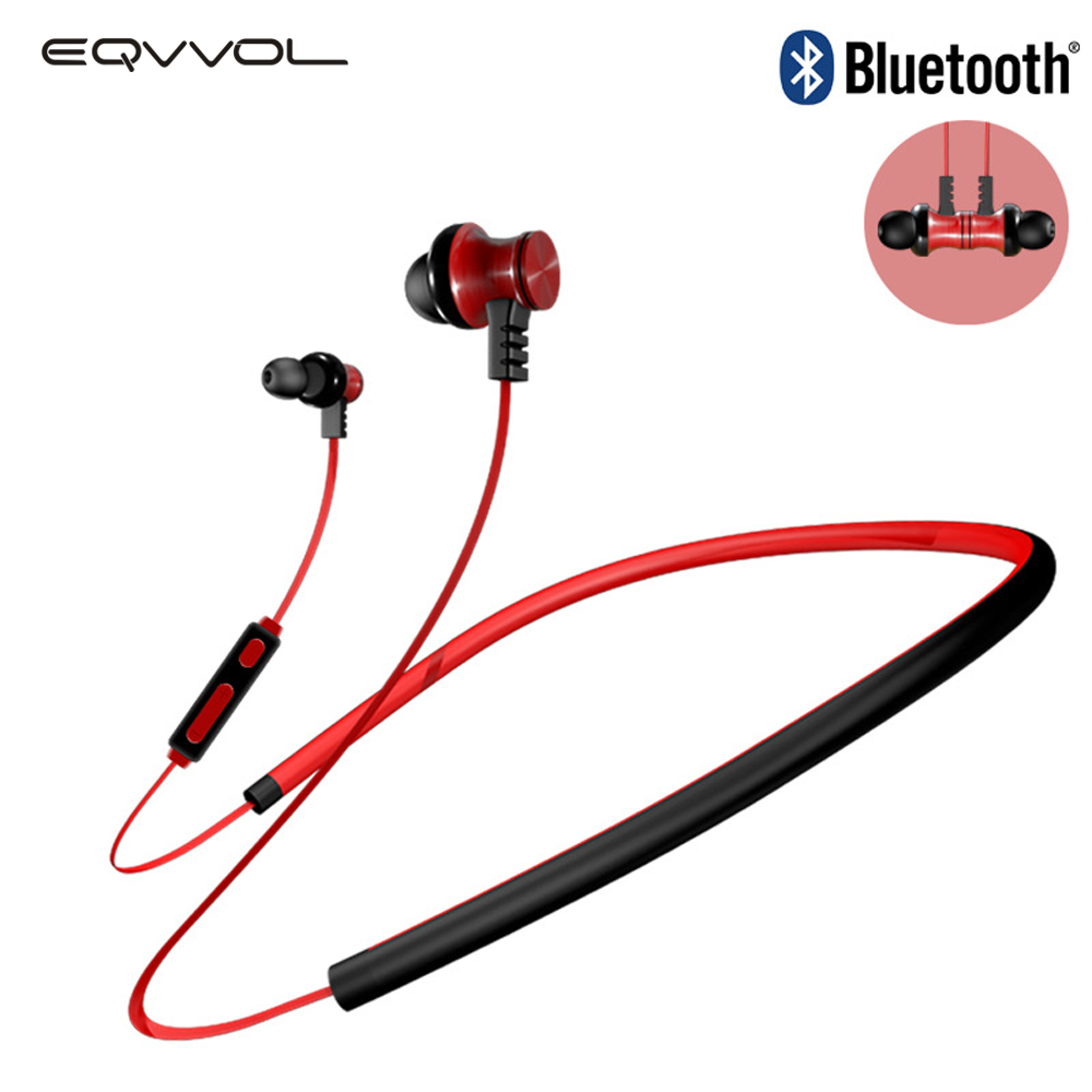 Eqvvol Neckband Wireless Bluetooth Headphone Magnetic Earphone For Sports Headset in-ear Stereo Auriculares Earbuds Earpiece fashion wireless bluetooth 4 2 stereo sports in ear earbuds magnetic headset with microphone for android samrtphone