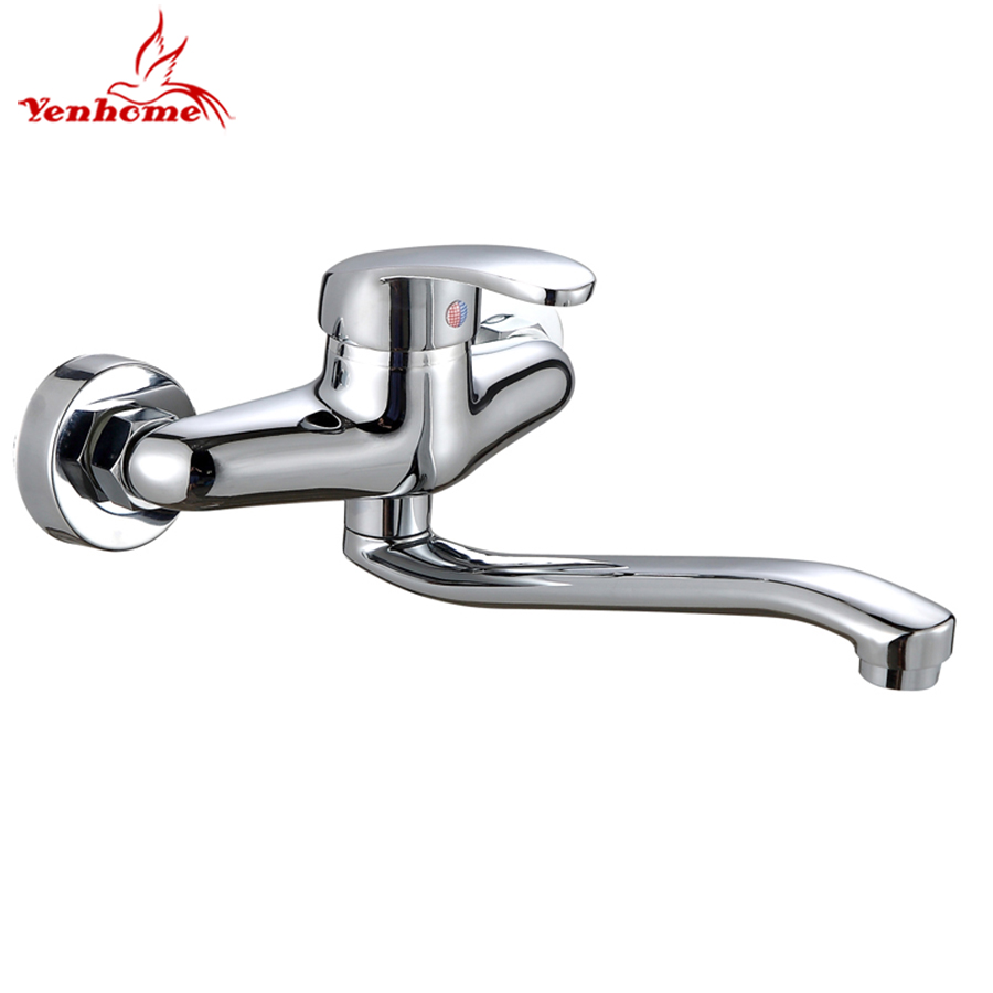 Yenhome Wall Mounted Double Holes Hot And Cold Tap Bathroom Faucet Long Arm 360 Rotate Solid Brass Kitchen Faucet Sink Mixer Tap