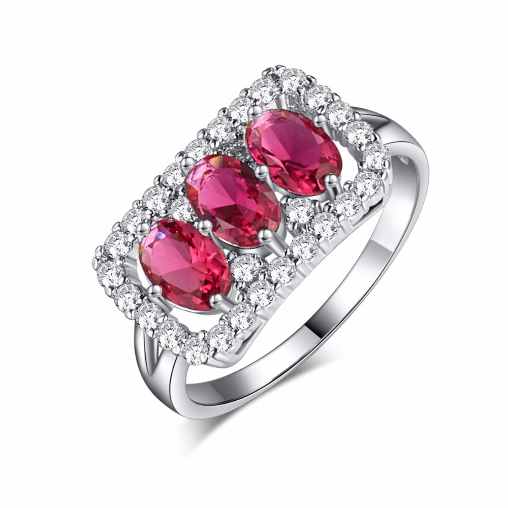 Fashion Design Shiny Red Ring Created Garnet Women Charming Engagement Jewelry  White Gold Filled Promise Rings