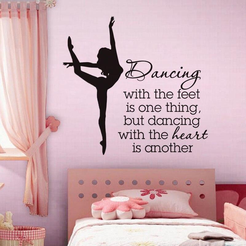 Cours Decal Pour École de Danse Motivés Mots Affiche Vinyle Conception Motif Wall Sticker Ballet Danseur Sticker SYY031