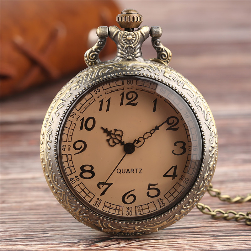 Retro Pocket Watch Antique Transparent Brown Crystal Cover Slim Chain Nurse Watches Graceful Pendant Clock Best Gifts For Family