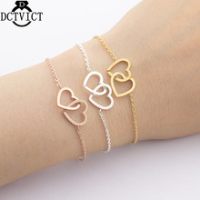 10Pcs Stainless Steel Pulseras Mujer Rose Gold Double Heart Charm Bracelet Wedding Jewelry Bridesmaid Gift Silver