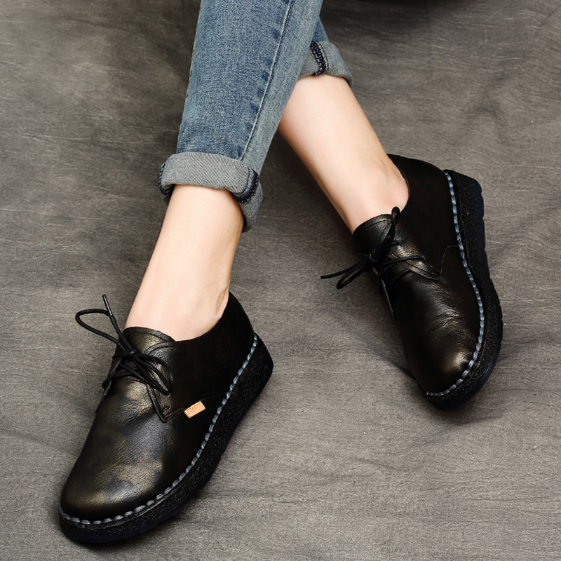 Tyawkiho Women Ballat Flats Genuine Leather Autumn Designer Casual Black Leather Flats Lace Up Soft Bottom Handmade Women Shoes designer women flats amry green genuine leather lace up grey flats fashion handmade casual leather shoes soft bottom comfortable