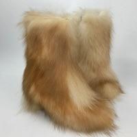 Micholediys 2018 New Arrival Handmade Winter Fox Fur Blue Snow Boots Eskimo Botas Antiskid Warm Increased Shoes