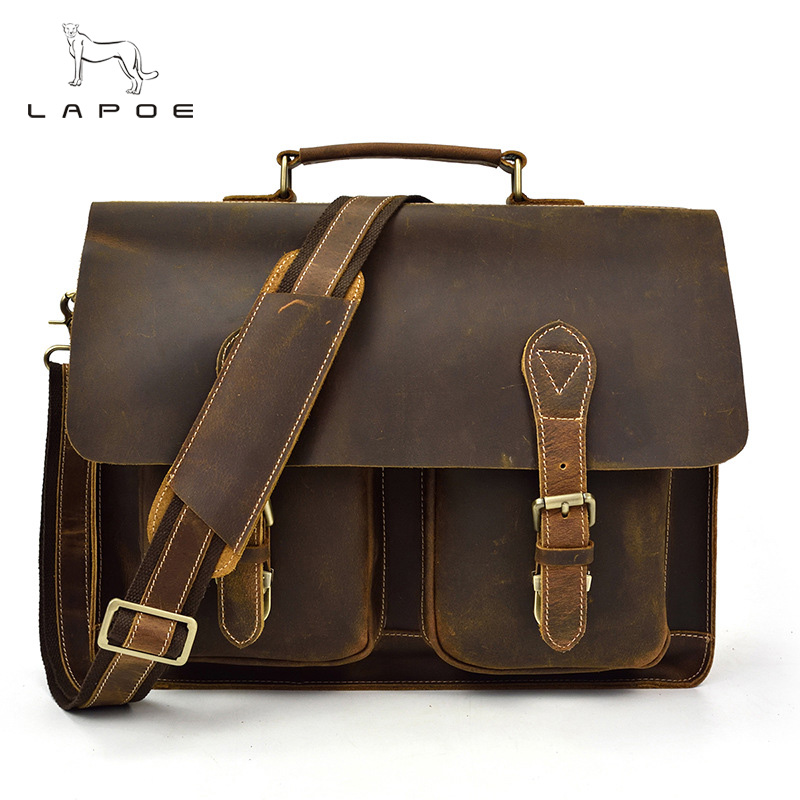 intage Crazy Horse Leather Men's Briefcase Laptop Bag Business Bag Genuine Leather Briefcase Men Shoulder Bag Crossbody bag retro crazy horse genuine leather bag business laptop bag briefcase men leather crossbody bag shoulder messenger men tote bag