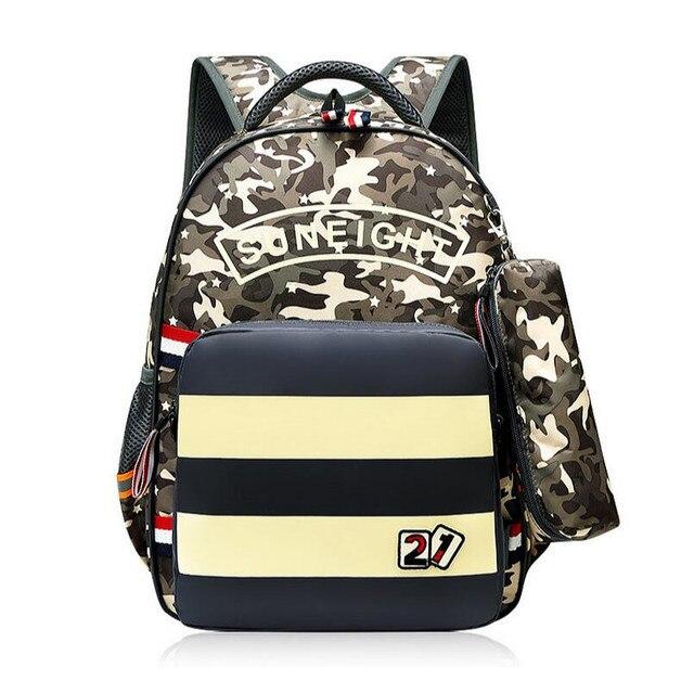 4c24ea78baa Jongens school rugzak waterdichte camouflage tas reflecterende strip  rugzakken voor kinderen boekentas afneembare schooltas etui