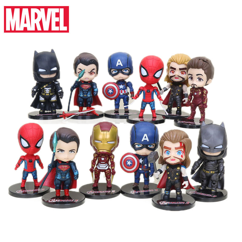 10cm Pack of 6  Marvel Toys Avengers Endgame Action Figure Set Spiderman Captain America Hulk Thonas Captain Marvel Model Dolls(China)