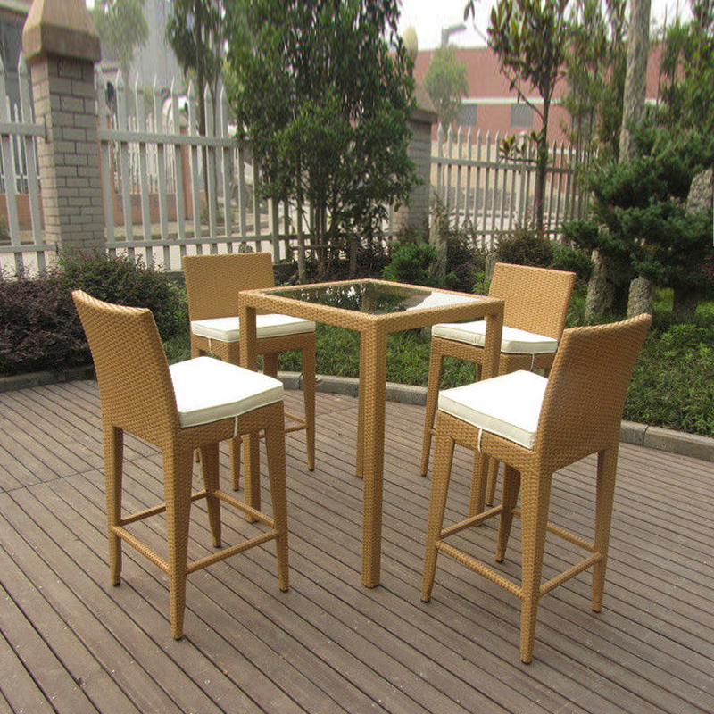 5pcs Luxury All Weather Resin Wicker Bar Set For Home Patio / Balcony