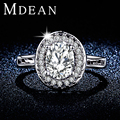 MDEAN White Gold Plated Engagement Rings For Women AAA CZ Diamond jewelry women wedding rings Big Accessories Bijouterie MSR295