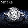 Mdean oro blanco plateó los anillos de compromiso para mujer AAA CZ Diamond jewelry mujeres anillos de boda grandes accesorios Bijouterie MSR295