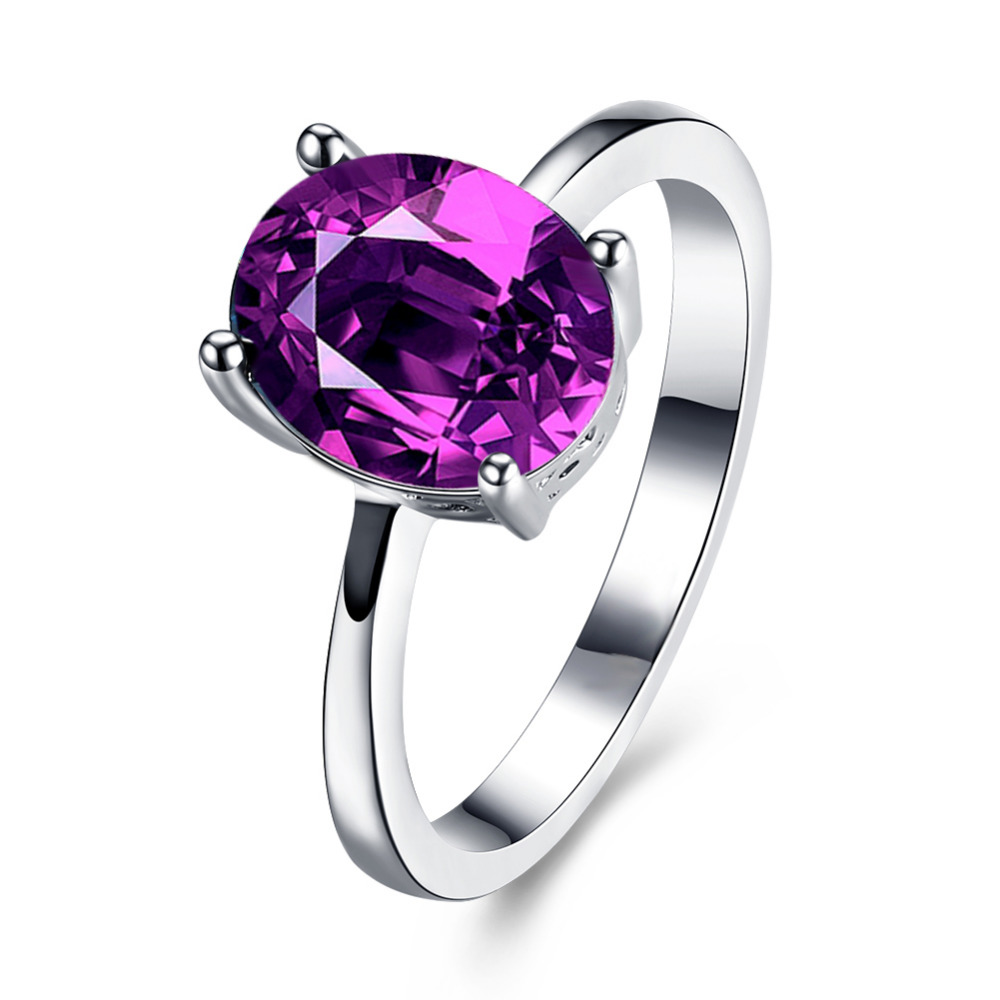 stone wedding rings swater fashion oval colorful stone wedding rings for women girls white gold - Stone Wedding Rings