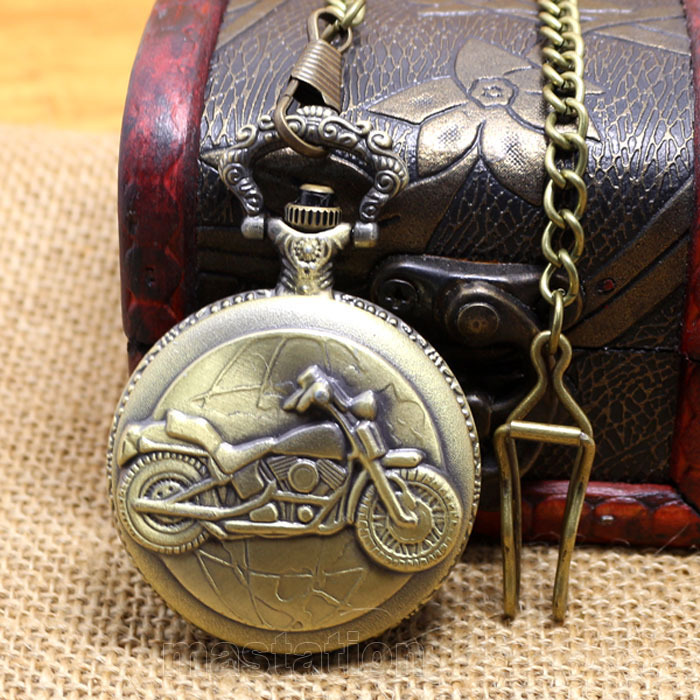 Free Shipping Bronze Motorcycle Motorbike MOTO Hour Long Chain Pocket Watch Necklace   Pendant Mens Husband Christmas Gift P79C bronze quartz pocket watch old antique superman design high quality with necklace chain for gift item free shipping