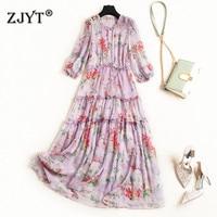 New Arrivals Woman Summer Dress Casual Vestidos Fashion Runway Designer Half Sleeve Floral Print Midi Chiffon Beach Dresses