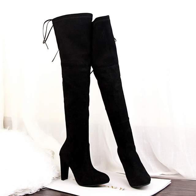 Mode Femmes Hauts À Hiver Chaussures Alf099 Neige Sur Lacets Hautes Cuisse Talons Qualité Mince Bottes Genou Confort Sexy eIH9WD2EY