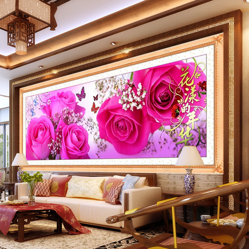 diy DMC counted cross stitch printed on canvas Kits rose flower chinese triptych cross stitch kits for embroidery rose gift