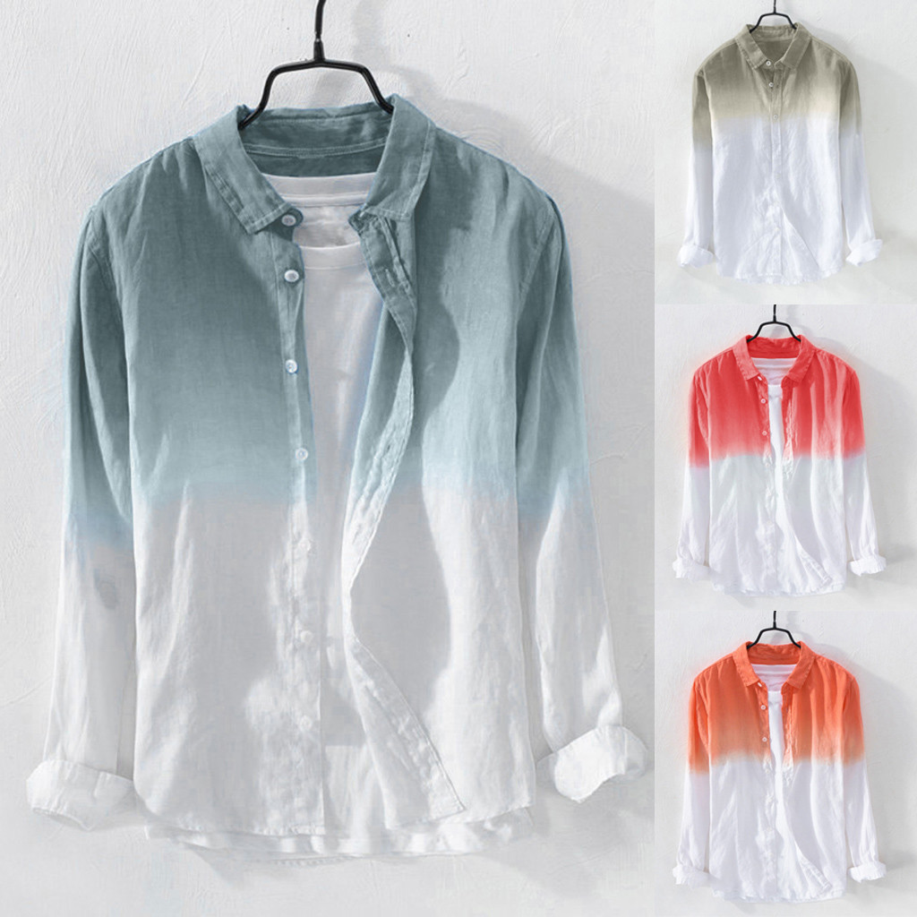 2019 Plus Size Summer Men Cool Thin Breathable Lapel Collar Hanging Dyed Gradient Cotton Shirt Hawaiian Shirt Camisa Masculina