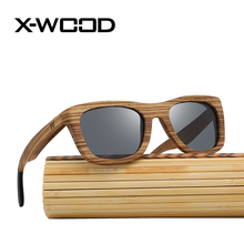 X-WOOD New Fashion Casual Square Zebra Wood Sunglasses Men Women Brown Wooden Sunglass Green Blue Mirror Sun Glasses Bamboo Box