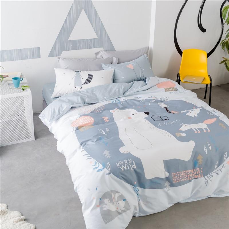 Niedźwiedź i Fox drukowane lato pościel dla dzieci zestaw dla dzieci szary pościel kołdra pokrywa zestaw wygodne 100% bawełna łóżko – zestaw z blachy w Zestawy pościeli od Dom i ogród na  Grupa 1
