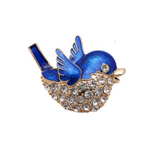 Free shipping Fashion the new blue jays rhinestone drop glaze enamel delicate high-grade brooch