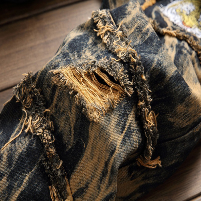 Male straight tube tiger head embroidery jeans, repair, make old, European version, vintage jeans, high quality, free shipping