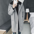 2017 Fashion Mens Winter Wool Coat Thick Long Trench Coat Men Hooded Jacket Coat Korean Style For Men Warm Overcoat Male Student