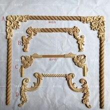 4 pz/lotto, stile Europeo di Legno Intagliato Angolo Fiore Decorazione mobili Decorazione Della Porta (A763)