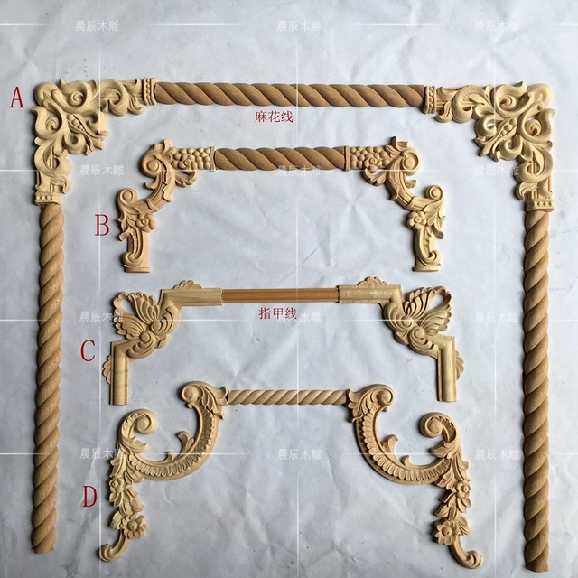 4pcs/lot,European style Wooden Carved  Corner Flower Decoration furniture Door Decoration(A763)