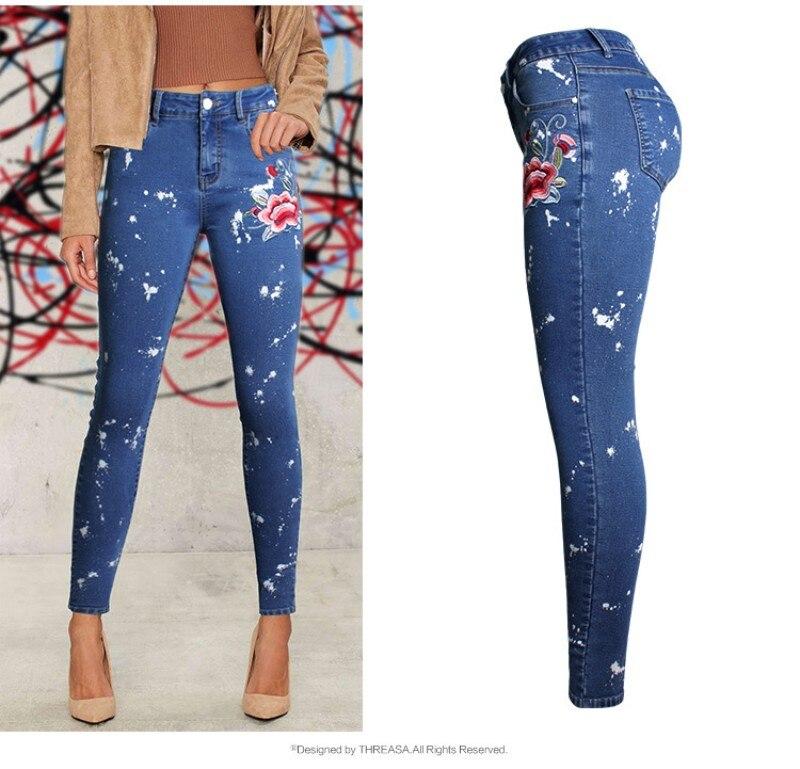 YSMARKET 2018 Europe Vogue Womens Slim Denim Jeans Embroidered Stretch Dot Sprayed Pencil Pants Female Denim Feet Jeans EAM073