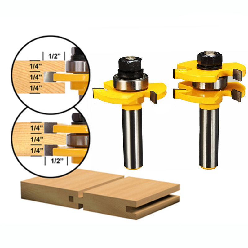 2Pcs T Type Router Bit 1 2 X 1 4 Tongue Groove 3 Teeth Tenon Router