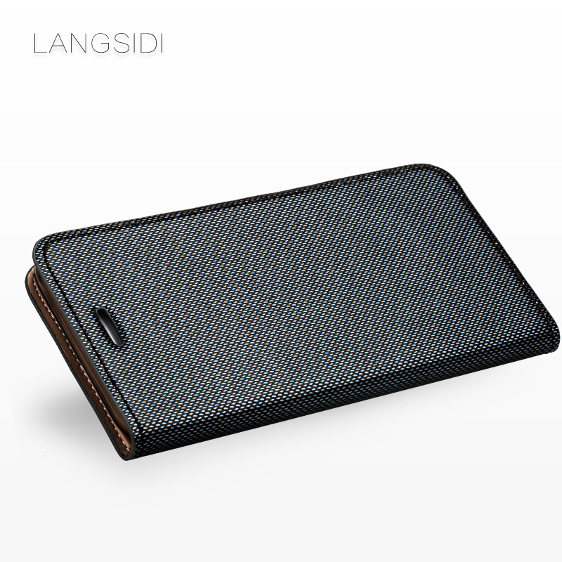 wangcangli brand phone case leather double lines of flip phone cover For iPhone 7 Plus hand made handphone case in Flip Cases from Cellphones Telecommunications
