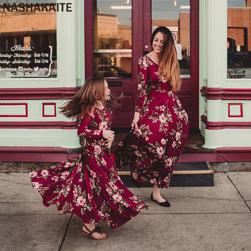 Mother Daughter Dresses Wine Floral Long Vestidos Mother And Daughter Clothes Mom And Daughter Dress Family Matching Clothes