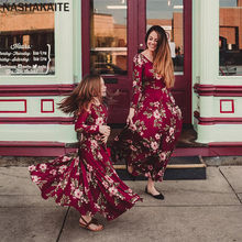 eaf48af555 Mother daughter dresses Wine Floral Long Vestidos Mother and daughter  clothes Mom and daughter dress Family matching clothes