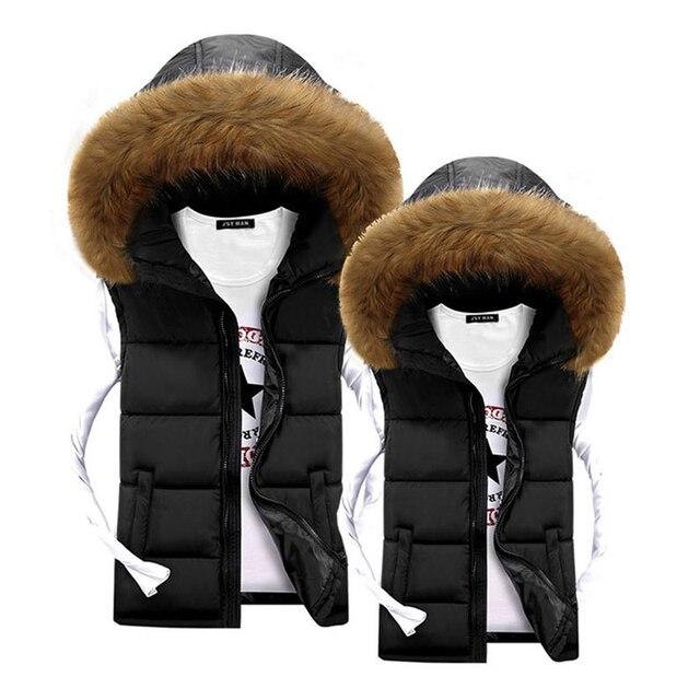buy online e3669 706fc US $29.39  Unisex Männer Weste Winter Fell Kapuze Weste für Männer Warme  mäntel Jacken Schwarz Mode Preiswerte Mens Unten Westen Veste Paillette  Homme ...
