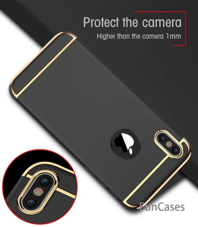 3 trong 1 Sang Trọng Cứng PC Trường Hợp Đối Với iPhone Xs Max XR X 6 s 6 7 8 Điện Thoại Trở Lại bìa Đối Với iPhone X 8 7 6 6 s Cộng Với 5 5 S SE Vỏ iphonw