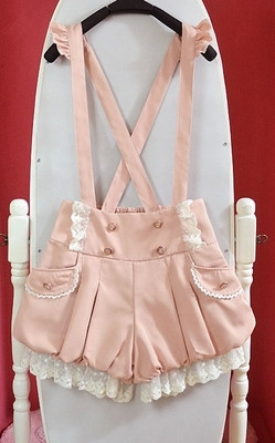 Sort / Pink Kawaii Overalls Sommer Ny Lace Flounces Double Breasted - Dametøj - Foto 6
