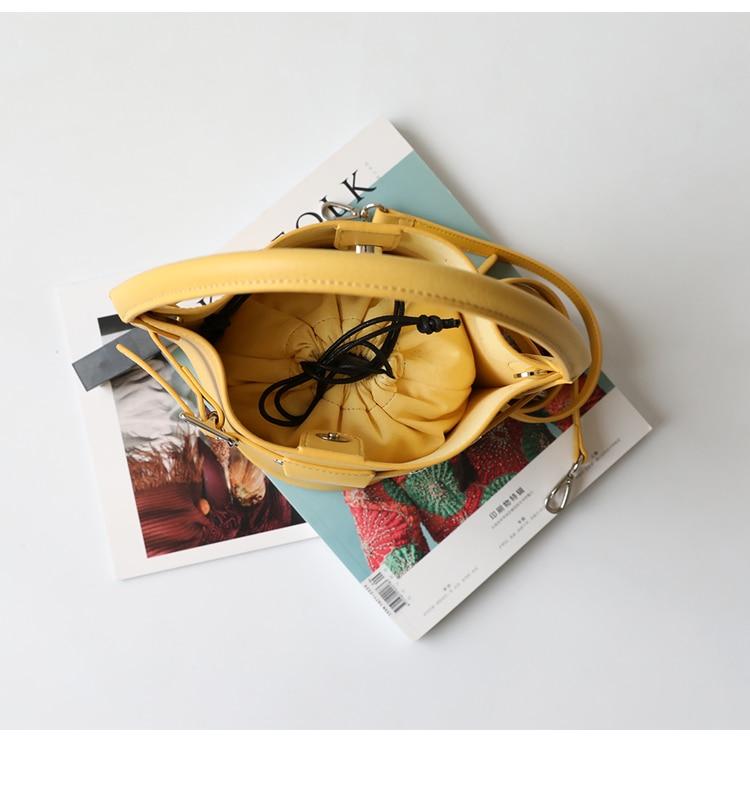 Alta Qualidade Senhora Balde Sacos De Mulheres Simples & Fashion Cowskin Couro Genuíno Crossbody Alça de Ombro Saco Mensagem Saco Composto - 4